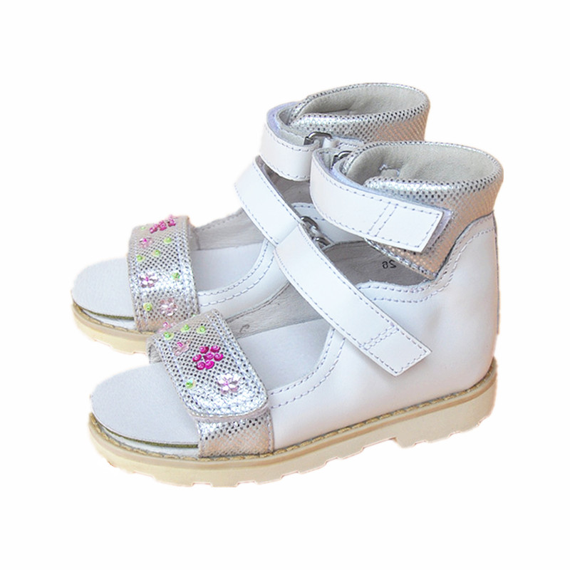 super quality 1pair Flower Genuine Leather Sandals Children girl shoes , Kid Sandals Orthopedic