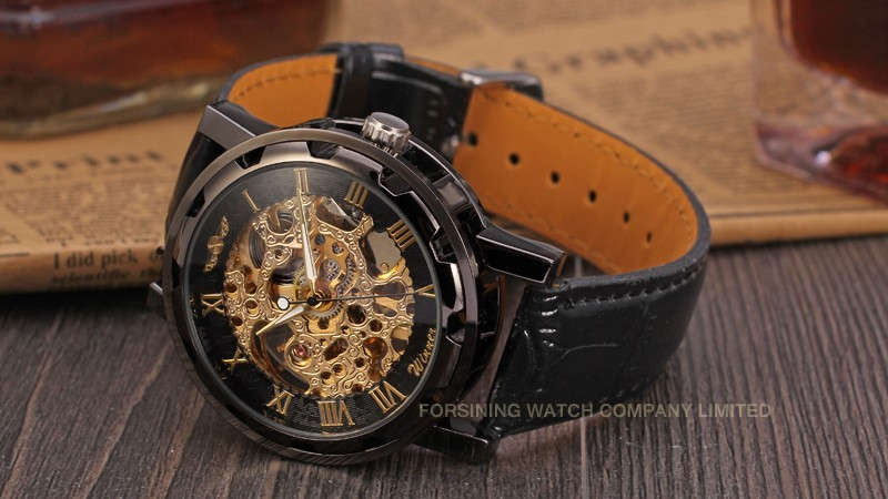 Winner Men Automatic Watch Black Case Gold Roman Numerals