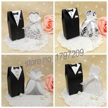 Free Shipping 50pcs Bride and Groom Wedding Favor Candy box with ribbon wedding accessories decoration mariage Decoupage paper