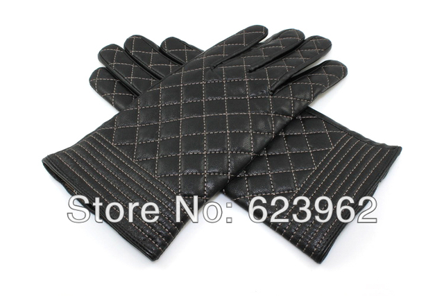 Ms. Winter new leather gloves warm gloves plaid