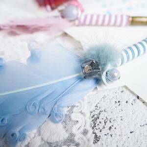 Image 5 - JUGAL Cute Feather, стеклянная ручка, погружная ручка, золотые Порошковые чернила, подарочный набор, перьевые ручки, Школьные Инструменты для письма, товары для рукоделия