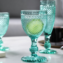 2 pcs Colorful Vintage relief wine Glass goblet engraving glass champagne cup household juice cup champagne glass wedding cups