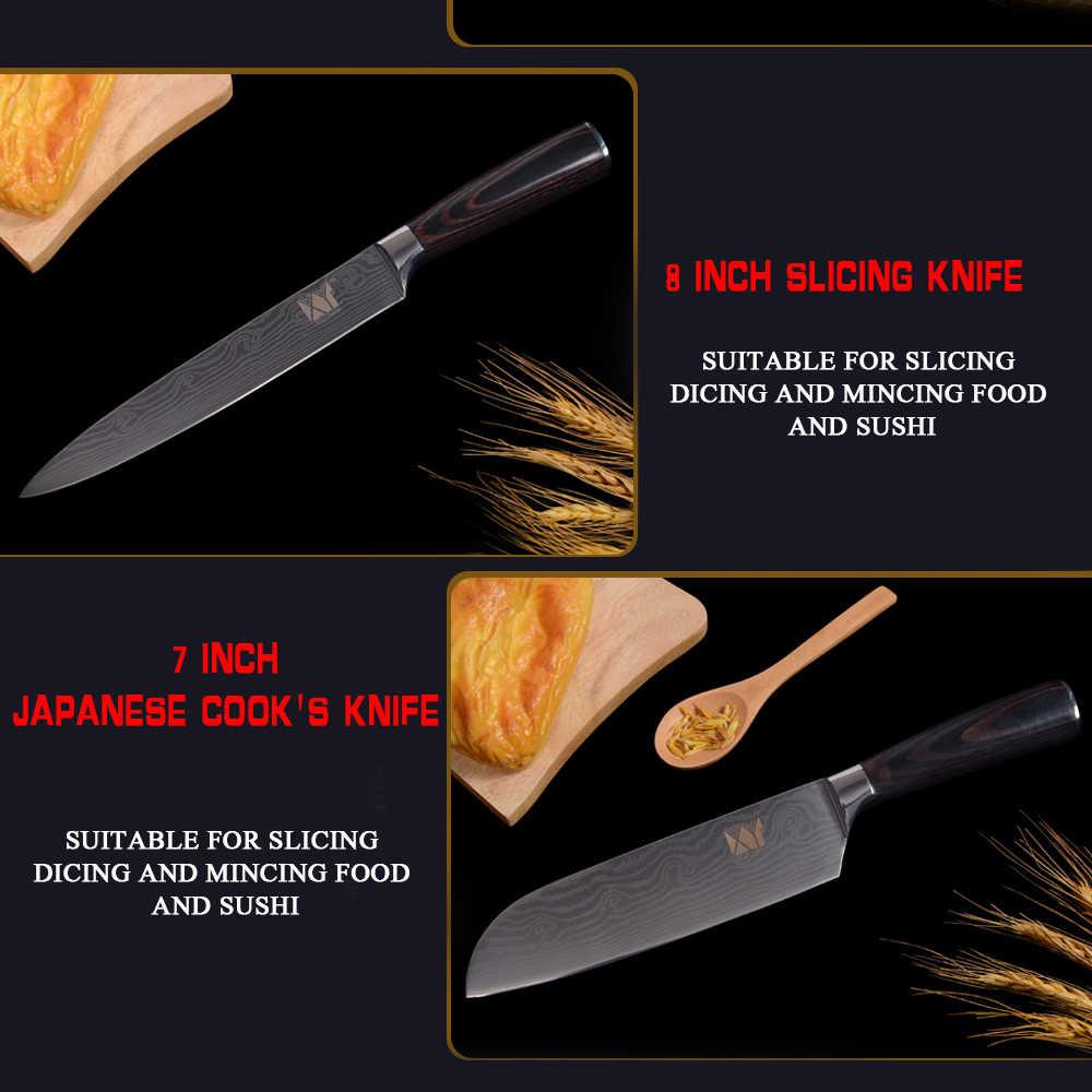 XYj paslanmaz çelik mutfak bıçak seti lazer desen keskin mutfak bıçağı seti şef suşi Sashimi dilimleme kesici japon Cleaver