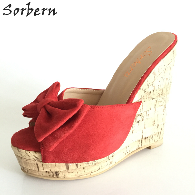 Red Women Slippers With Platform Wedge High Heels Slides Comfortable Summer Style Open Toe Women Slides Sandals Summer e toy word summer platform wedges women sandals antiskid high heels shoes string beads open toe female slippers