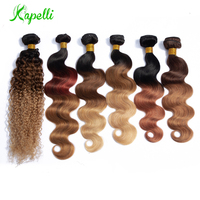 Brazilian Body Wave Hair Extensions Human Hair Bundles Remy 1 Pc Can Buy 3 or 4 Bundles Ombre Blond Bundles Human Hair Weaves