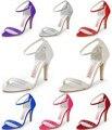 """Sandálias de Verão mulher HP1408 Abrir Toe Rhinestone 4 """"Cinta do Tornozelo do Salto Alto de Cetim Nupcial Do Casamento Bombas de Sapatos"""