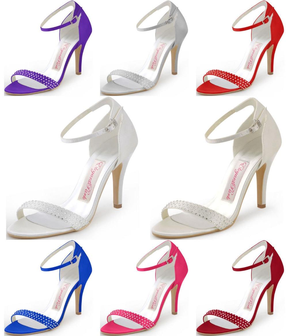 Sandals honeymoon shoes with rhinestone - Woman Summer Sandals Hp1408 Rhinestone High Heel Ankle Strap Pumps Satin Women S Wedding Bridal Shoes Prom
