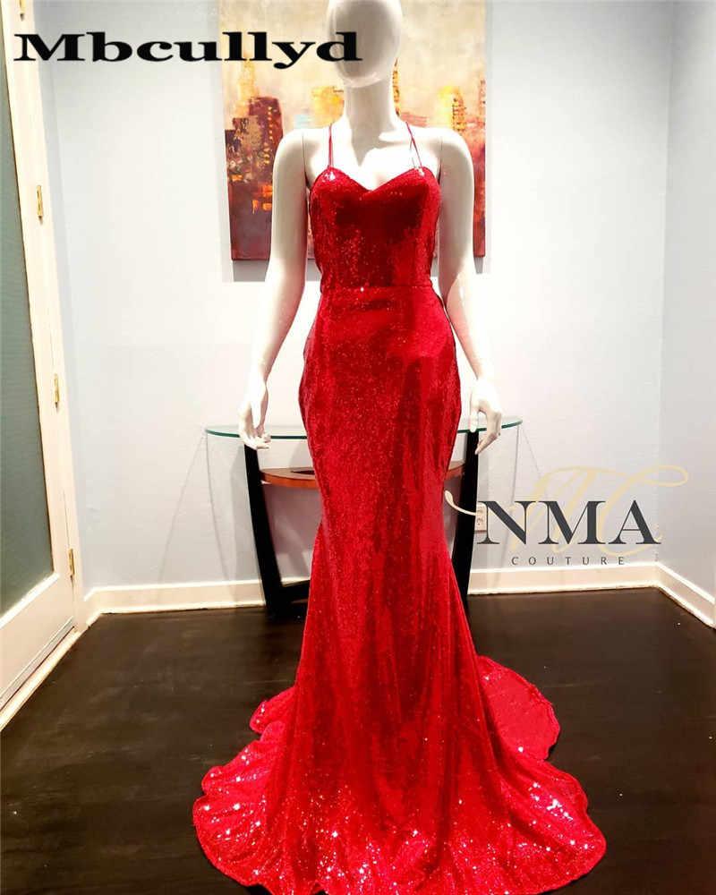 Mbcully סקסי הלטר בת ים נוצץ אדום נצנצים שחור ילדה שמלות נשף 2019 ארוך אפריקאי נשים פורמליות שמלת ערב מסיבת שמלות