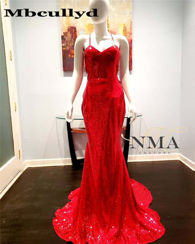 Mbcully Sexy Halter Mermaid Sparkly Red Sequin Black Girl   Prom     Dresses   2019 Long African Women Formal   Dress   Evening Party Gowns