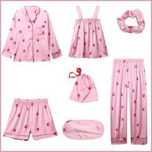 7 Pieces Women Pajamas Set Print Nightwear Sleepwear Suit Camisole+Shorts+Shirt+Pants Imitation Silk Homewear Pyjamas Pijamas khaki pajamas suit with imitation silk material