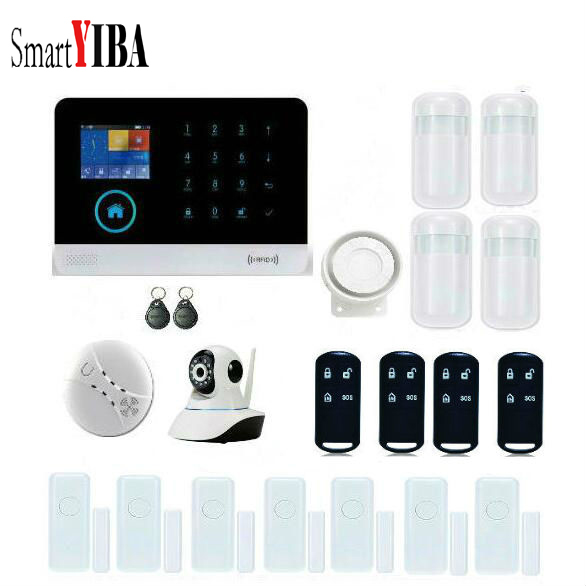 SmartYIBA GSM Alarm System Dual Net Touch Panel APP Control work with IP Camera Home Security Protection Wireless Alarm System bulk order price best ethernet alarm wireless tcp ip alarm gsm alarm system for smart home security protection alarm with app