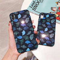 100 шт. мода Художественный листьев чехол для iPhone 7 6 6splus телефон мешки для iPhone X XS XR XA MAX чехол на заднюю стенку принципиально Shell
