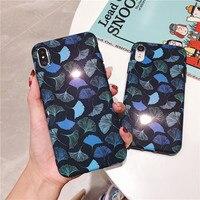 100 шт модный художественный лист Телефон чехол для iPhone 7 6 6splus телефонные сумки для iPhone X XS XR XA MAX листья задняя крышка Funda Shell