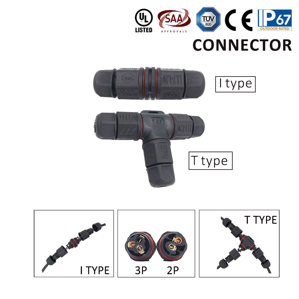 High Quantity Waterproof Cable Connector IP67 Wire Waterproof L T type IP68 cable connector plug socket Male Female 2pin 3pin