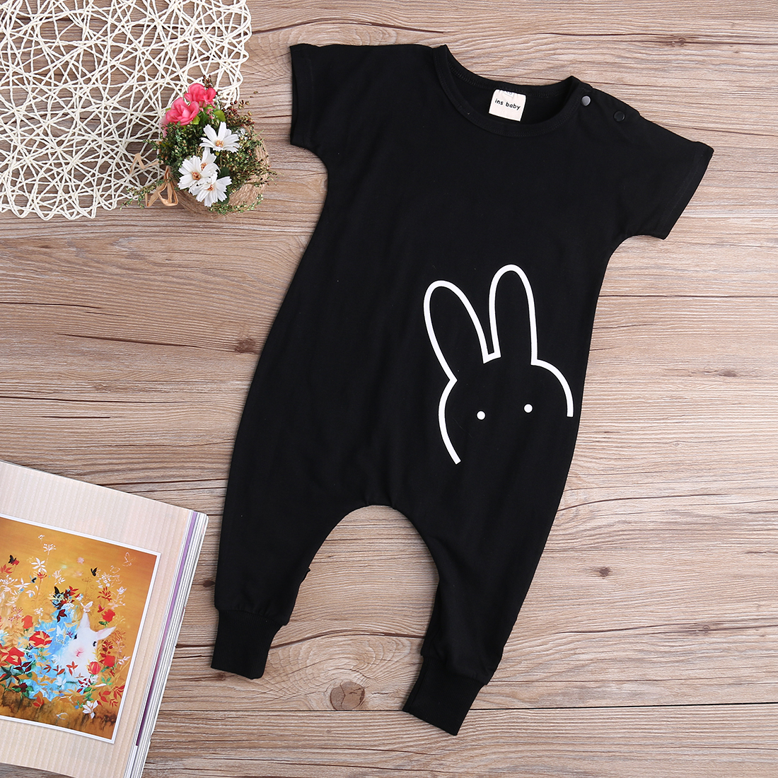 Newborn Kid Baby Boy Girl Casual Rabbit   Romper   Quoted Long Pants Jumpsuit 1-5Y