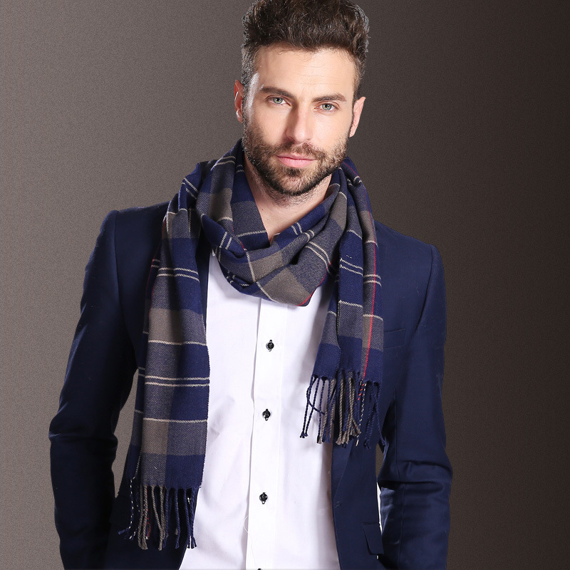 New Europe Fashion Shawl Scarves Men Winter Warm Tartan Scarf Business Sjaal Plaid Cotton Wraps Bufanda Foulard szaliki i chusty(China)