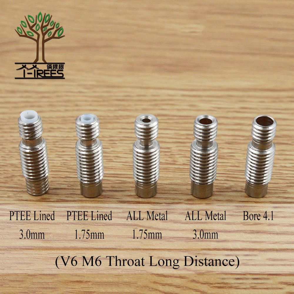 5PC 3D Printer Nozzle throat,All metal or Teflon tube or 4.1mm Through-hole for 3d V6 1.75mm 3mm Extruder Hot End J-Head 10pcs lot high quality 3d printer spare parts m6 26 3d printer e3dv5 nozzle throat with teflon tube