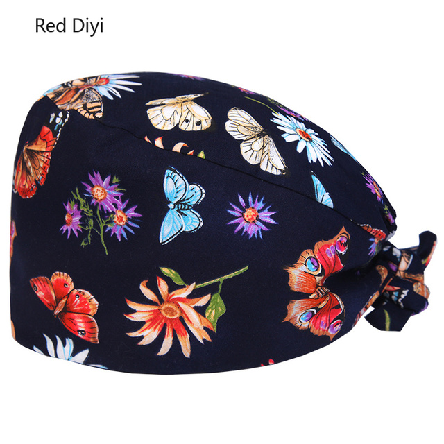 Floral Surgical Scrub Hats and medical cap with Fabric Ties and an  Elasticized Back Section Operating Room surgery Work Hat 6ea41dc029a