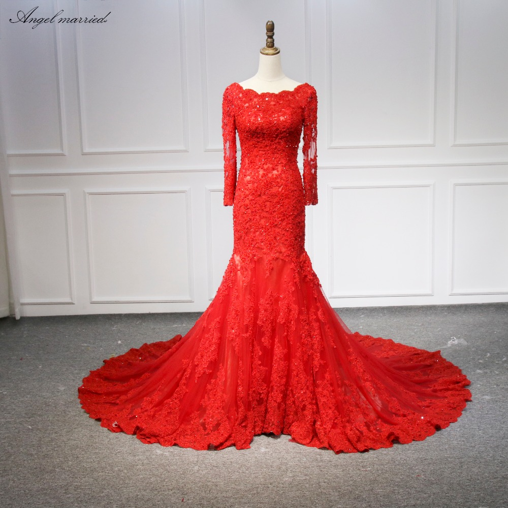 Angel married Fashion red Evening Dresses mermaid long sleeve prom ...