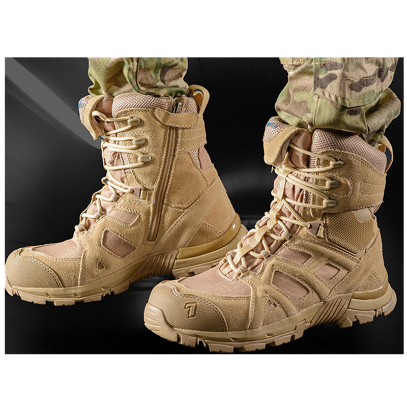 High Tube Leather Mesh Breathable Antiskid Military Combat Tactical Boots Outdoor Sports Training Climbing Desert Hiking