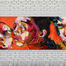Palette knife portrait Face Oil painting Character figure canva Hand painted Francoise Nielly wall Art picture for living room65