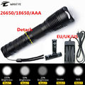 Super Bright flashlights 5 Modes CREE XML T6 3800LM Zoomable LED Flashlight Tactical Torch Lights +2x18650 battery/Charger