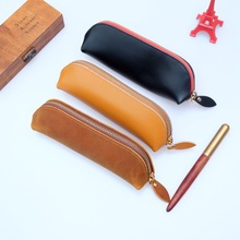 pencil case Handmade Genuine Leather Pen Bag Cowhide Pencil Vintage Retro Style Accessories For Travel Journal Free Shipping