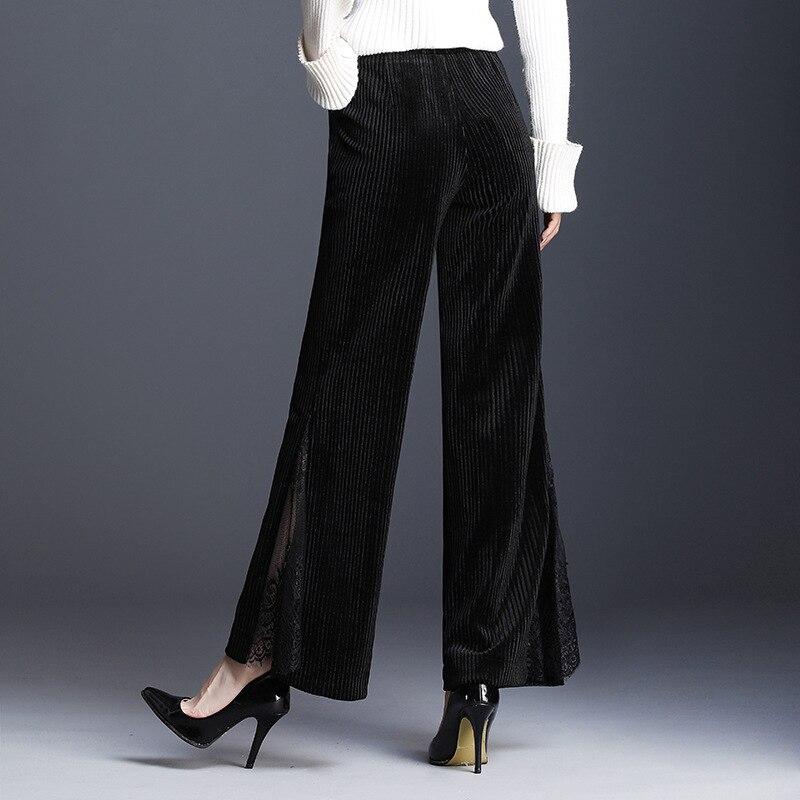 Pierna Mujer Las Mujeres Cintura Negro Moda Pantalones Empalme Terciopelo Black Casual Encaje Calidad Alta Altura De Largos La Ancha WqHzFxw7Y