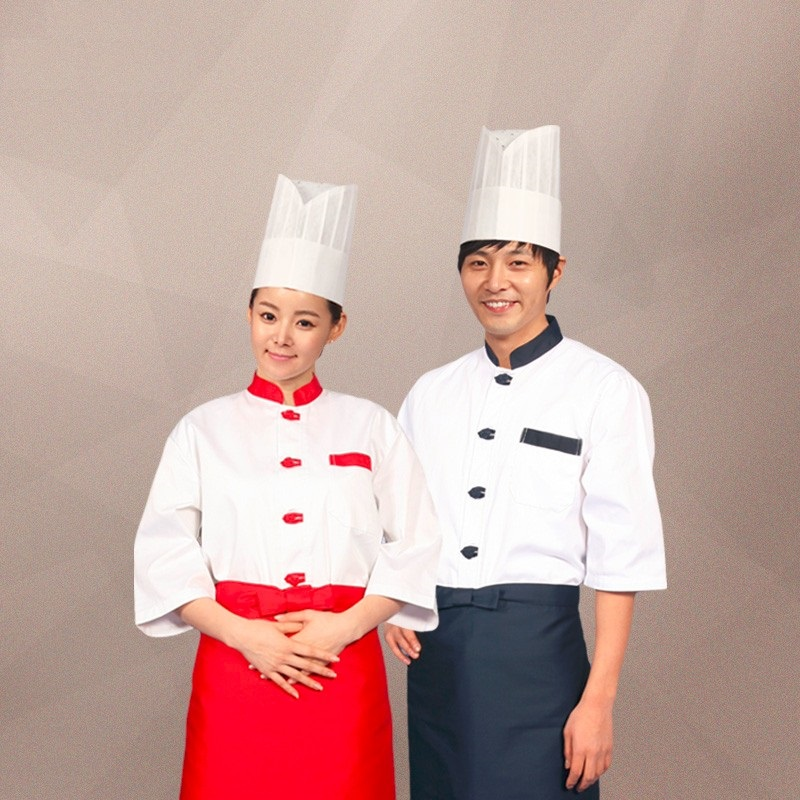 (10set Hat&Shirt&Apron)Chef's Short Sleeve The Hotel Kitchen Restaurant Chef Uniform White Men And Women Bakers Dining Room
