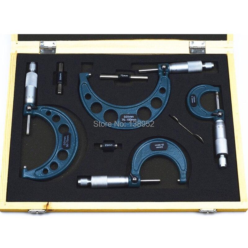4pcs Outside Micrometer set 0 25mm 50mm 75mm 100mm 0 01mm Set Kit Carbide Alloy With