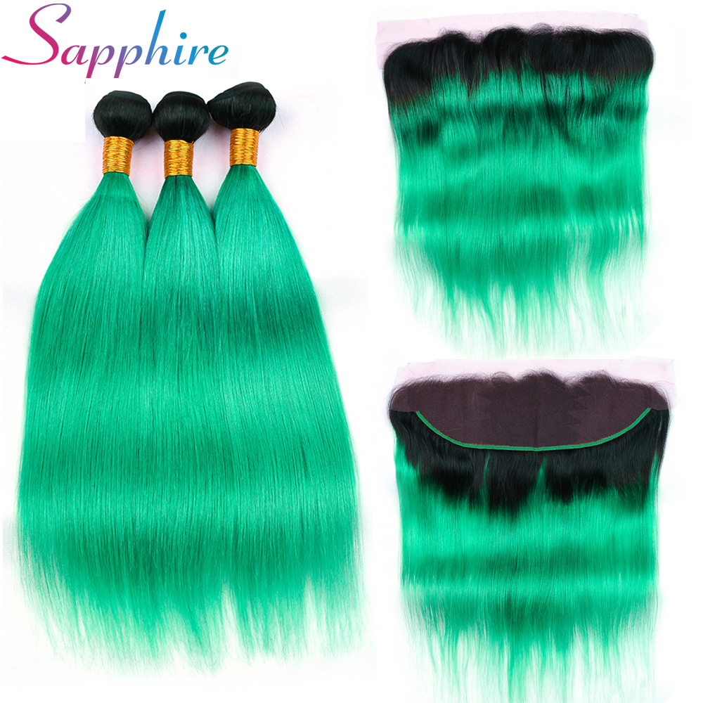 Sapphire Hair T1B/Green Ombre Bundles With Frontal 4 Pieces Human Hair 13*4 Lace Frontal Peruvian Straight Hair Bundles