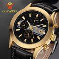Homens mecânicos do Relógio Esqueleto Homem relógio de pulso de Couro relógios Moda Casual Relógio De Pulso reloj hombre Relogio masculino de Luxo