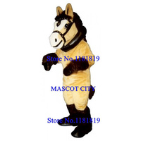 MASCOT DELUXE golden yellow horse Mascot pony mustang Costume Adult Anime Cosplay Cartoon Mascotte Fancy Dress Suit Kits