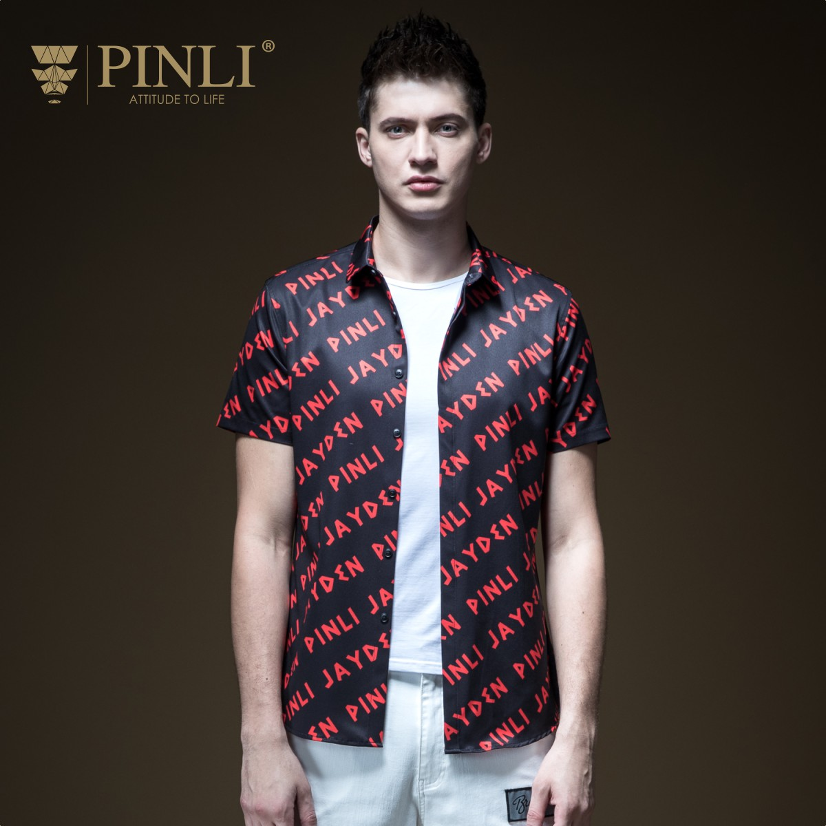 2018 Camisa Social Para Hombre Men Shirt Pinli Summer New Men's Decorated Body Printed Short-sleeved Clothes Tide B192113259