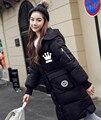 Novo inverno 2017 mulheres dos homens versão Coreana BIGBANG KPOP preto cinza Rosa verde impressão Carta casaco Com Capuz Espessamento Para Baixo casaco
