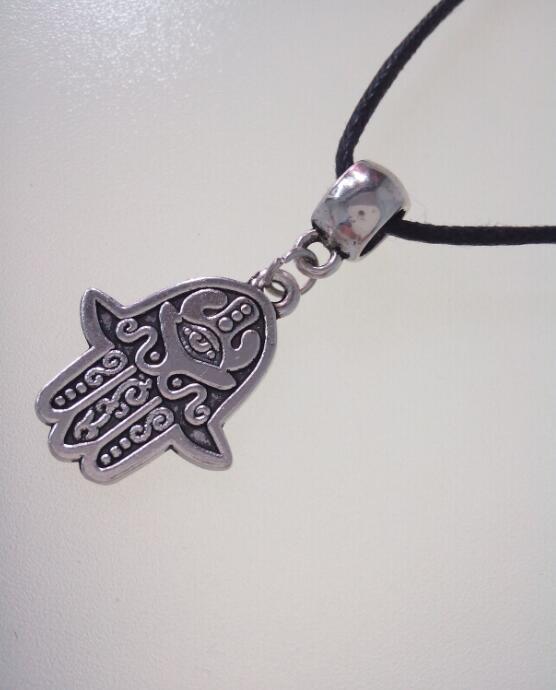 Kabbalah Hand of Fatima Hamsa Hand Pendant Cord Necklace Christian Pagan Wiccan Protection - Free Organza Bag Gift