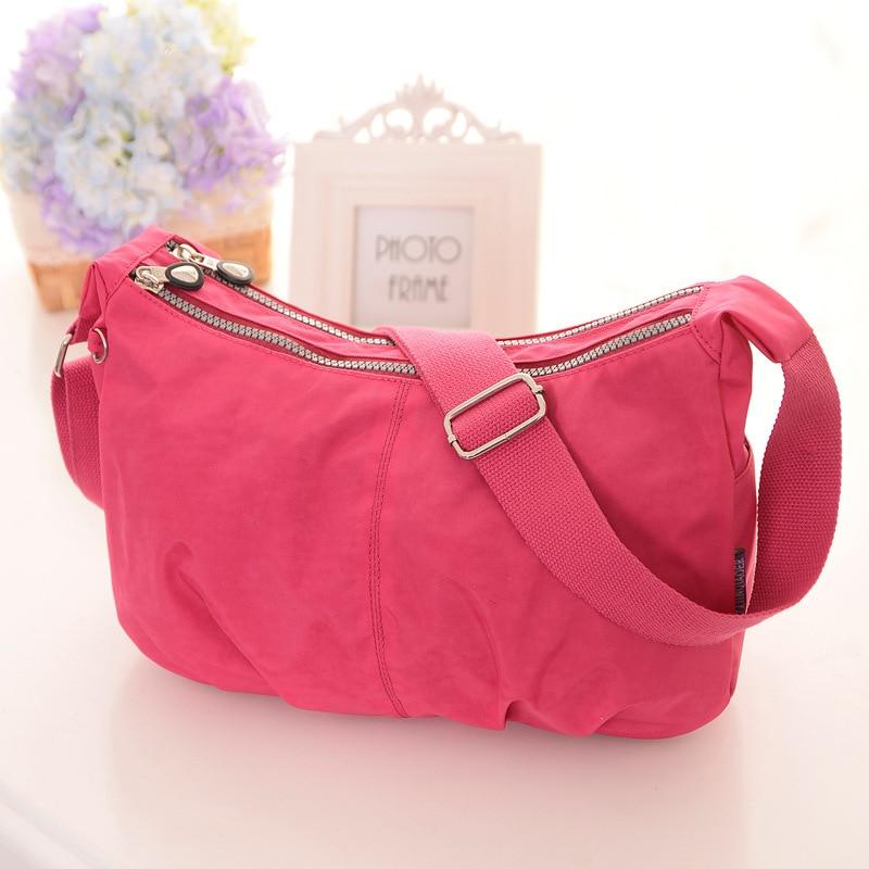 Fashion Brand Designer Female Shoulder Bag Nylon Solid Color Half Moon Double Pockets Zipper Shopping Bag Mommy Crossbody Bag