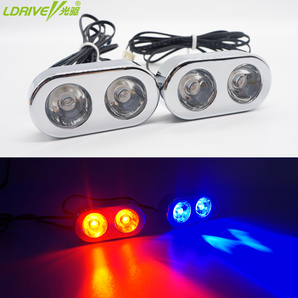 Hot 2PC/lot Car 2LED Strobe flashing Emergency Lights red blue white LED Warning Light bar for Car Truck Motorcycle High Power wireless control car strobe light bar 30 led police warning lights emergency strobe lights dc 12v 30inch red blue white amber