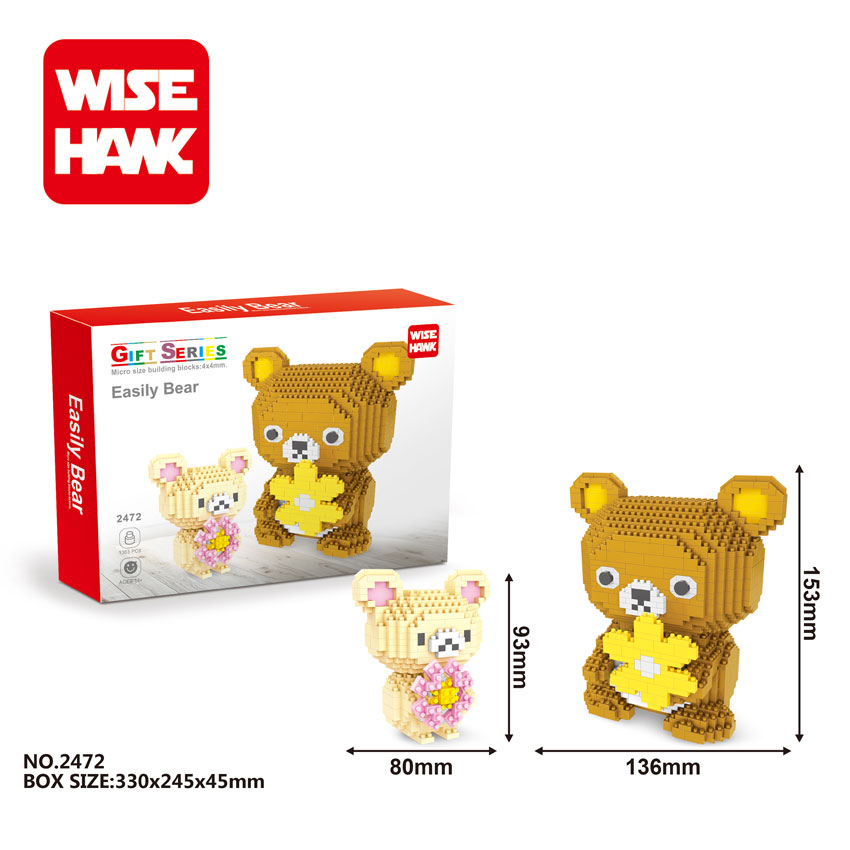 WiseHawk Kawaii Big Size Rilakkuma Nanoblocks Japanese Anime Cartoon Mini Diamond Building Bricks Educational Toys For Children