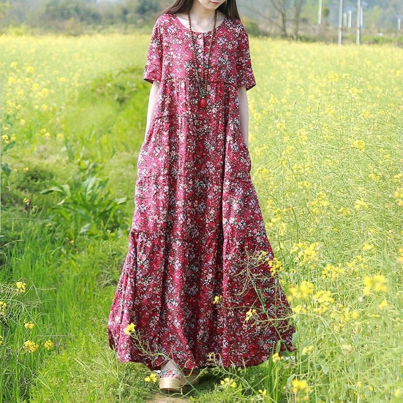 LZJN Vestido de playa de verano 2019 Vestido de camisa maxi flor - Ropa de mujer - foto 4