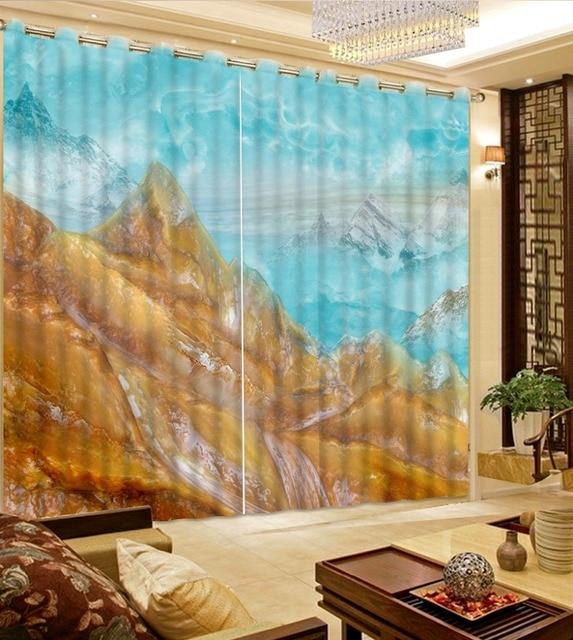 Camera da letto moderna tende della finestra tende fantasia marmo ...