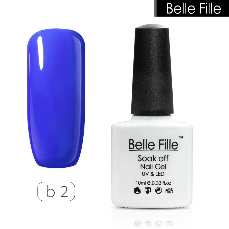 ᐂbelle fille 10ml blue color uv nail gel manicure lacquer home diy
