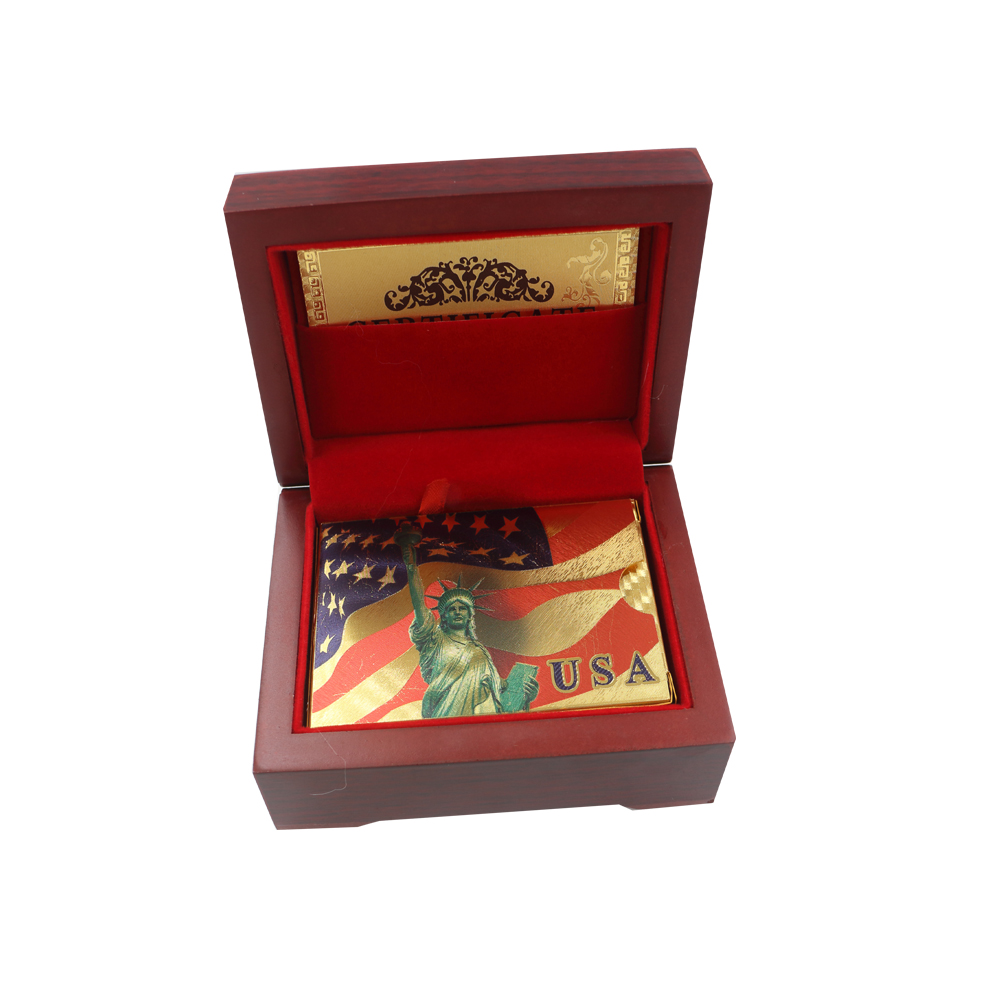 24k Gold Plated Color Gold Playing Card USA Style Commemorative Chip Card American Liberty Playing Card In Wooden Box