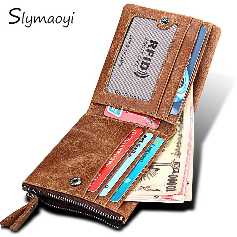 Slymaoyi Men's RFID-Blocking Bifold Wallet Genuine Leather Zipper Purse Vintage Brand New Money Bag Card Holder Short Wallets