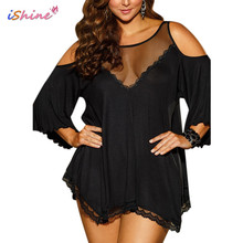 iShine Plus Size 3xl 4xl Sexy Lingerie Lace Mesh Perspective Exposed-Shoulder Exotic Nightdress porn Women Pajamas Babydolls