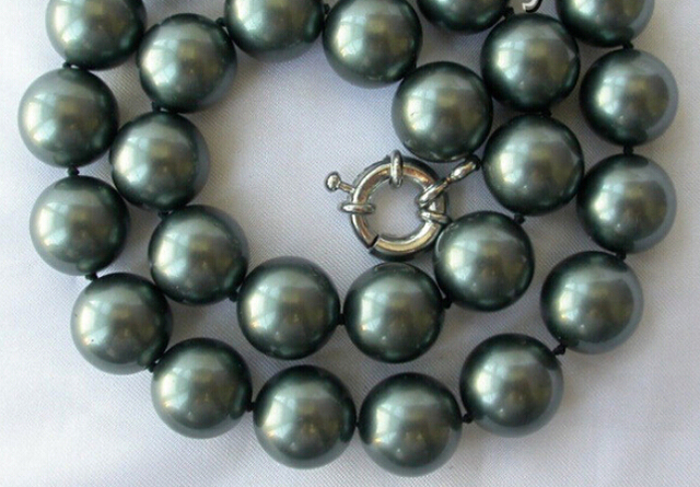stunning big 14mm round Tahiti black south sea shell pearl necklace AAA style Fine Noble real Natural free shipping