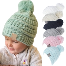 0685bbee171e0 Beanie Pom pom Hat Thicken Warm Wool Hat Fleece Winter Cap Girl Beanies Children  Hats Fashion