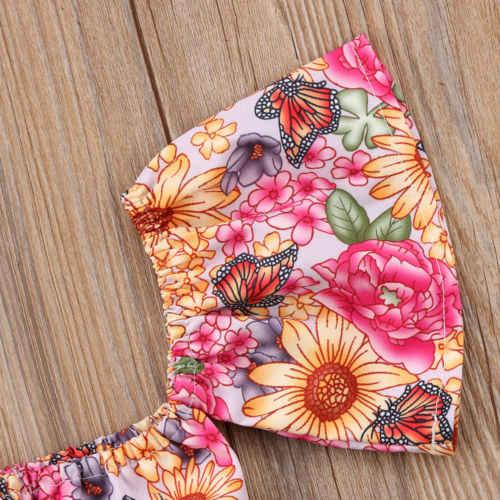 פעוט יילוד תינוקות בנות Bowknot קיץ off-כתף חולצה למעלה קצר מכנסיים תלבושת בגדי סט