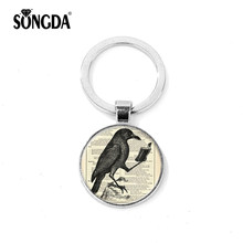 SONGDA A Black Bird Read Books Learning Picture Keychain Vintage Metal Pendant Librarian Teacher Student Glass Key Chain Trinket(China)