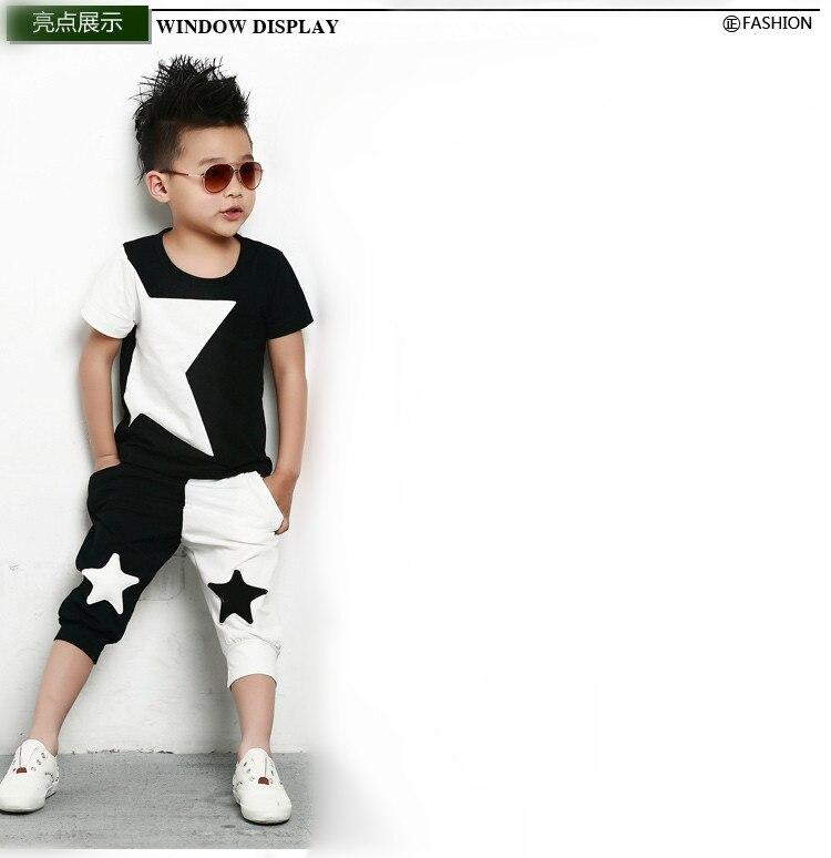 Men's Clothing ... Men's Sets ... 32659261184 ... 5 ... kids  suits twinset spring summer clothing set Boys Costume Black White patchwork star T-shirt & dance Hip Hop harem pants ...